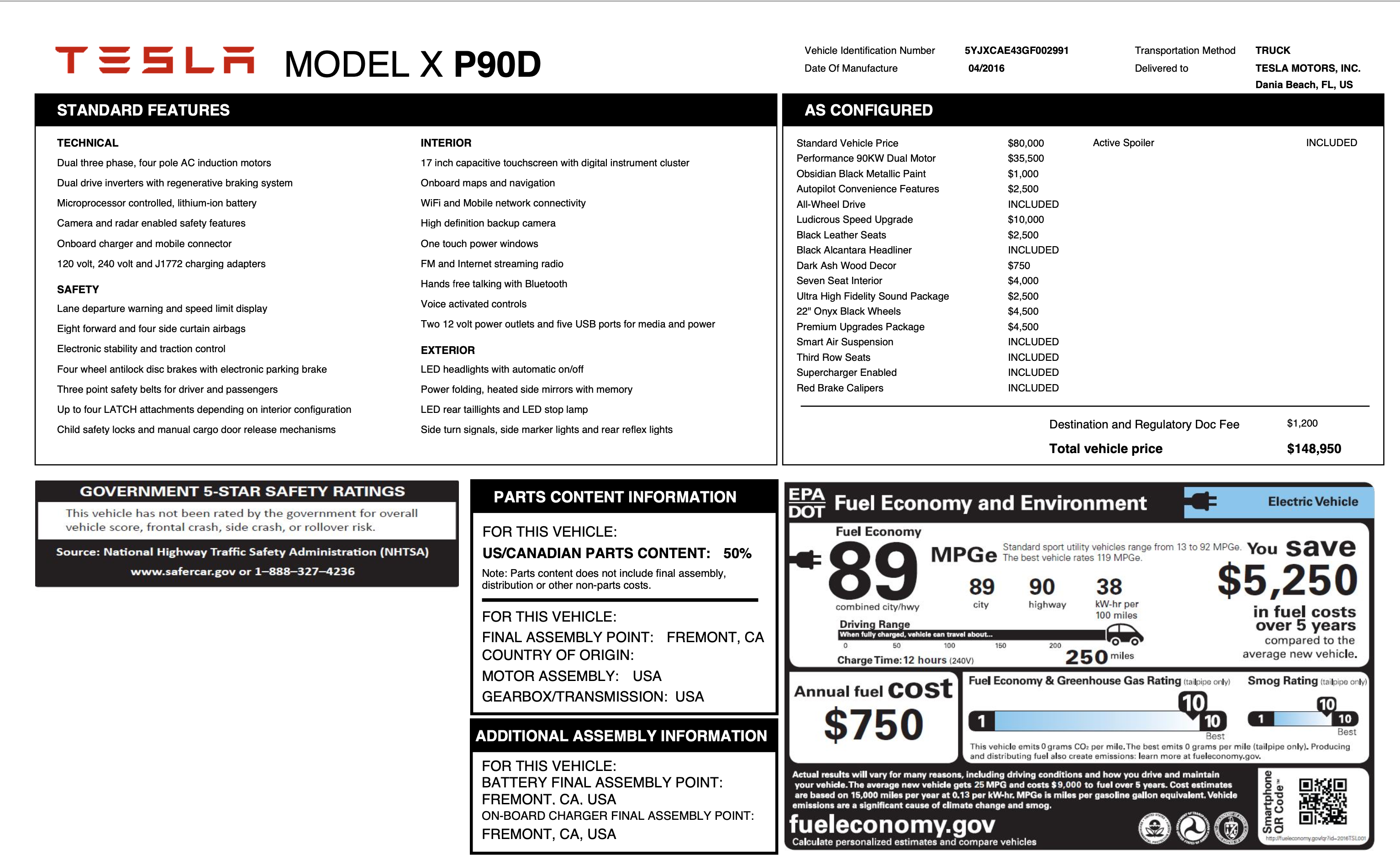 photo of spec sheet