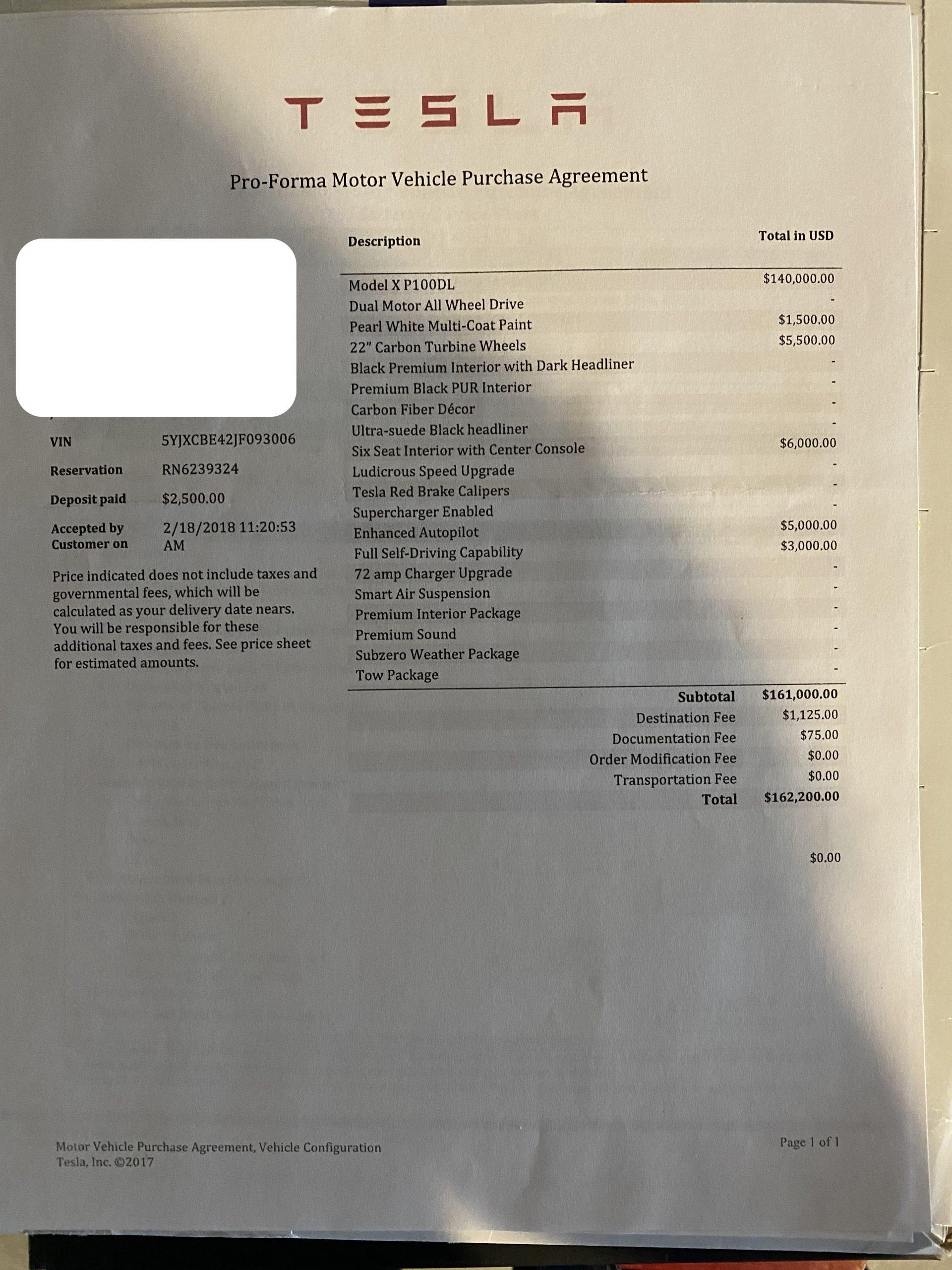 photo of spec sheet